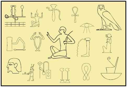 Selbst erstellte Sammlung von Hieroglyphen für die Verwendung in der Ideenproduktion